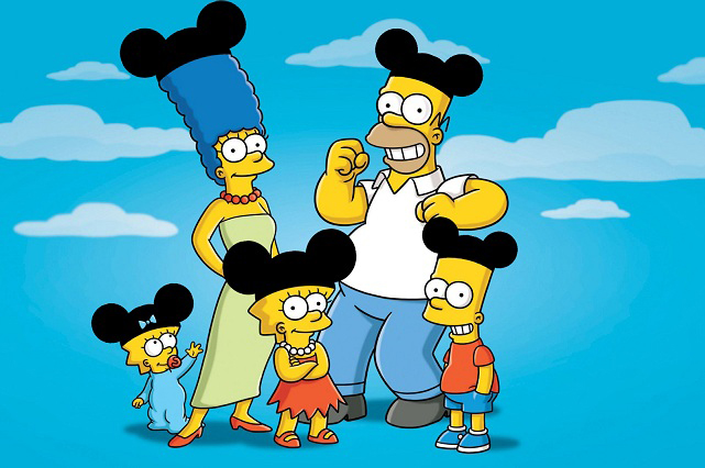 Los Simpson le dan la bienvenida con respeto a Mickey Mouse a su familia