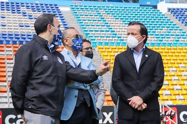 Club Puebla recibió a Mikel Arriola, presidente de la Liga MX