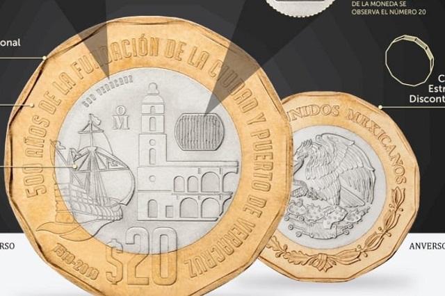 Así se ven las monedas de 20 pesos que ya circulan en Puebla