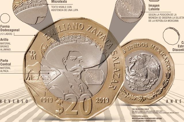 Banxico lanza moneda de 20 pesos conmemorativa a Emiliano Zapata