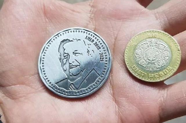 Empresa vende monedas con rostro de AMLO por sus 3 años de gobierno