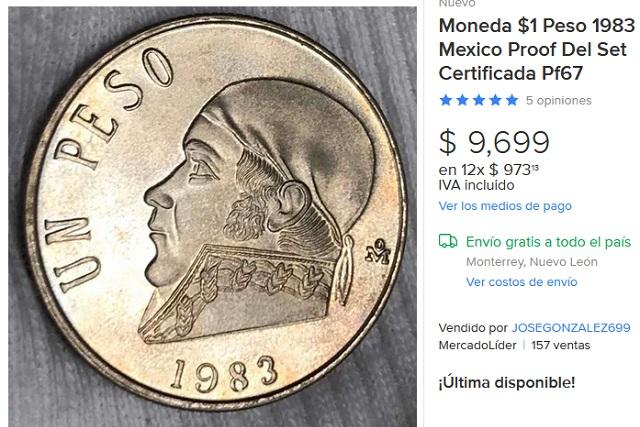Venden en casi 10 mil pesos moneda de Morelos de un peso de 1983