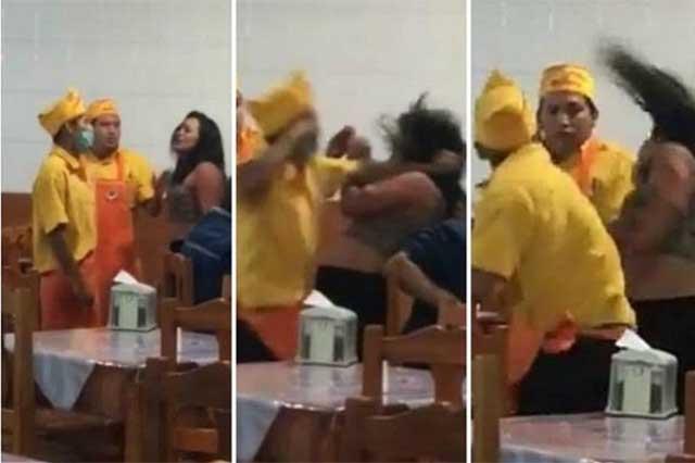 Acusan que mujer golpeada en taquería estaba ebria y causó destrozos