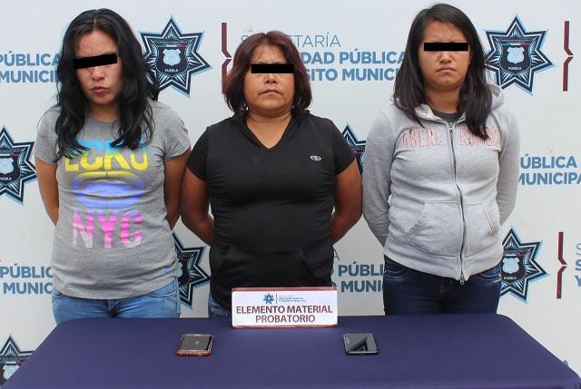 Caen tres mujeres por robo en Ruta Angelópolis, en Puebla