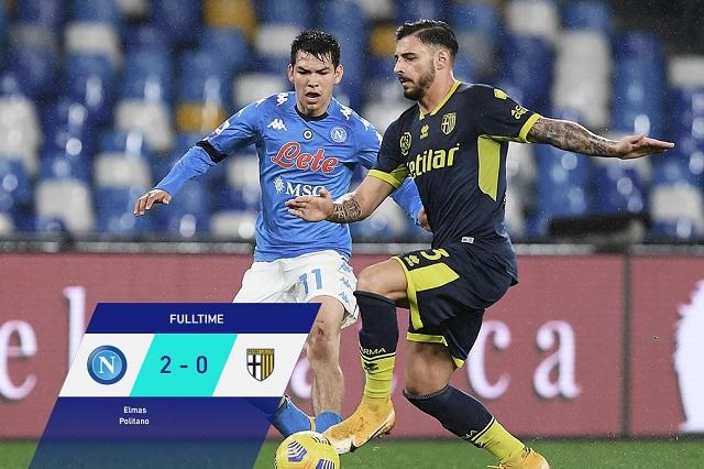Hirving Lozano juega los 90 minutos en victoria de Napoli ante Parma