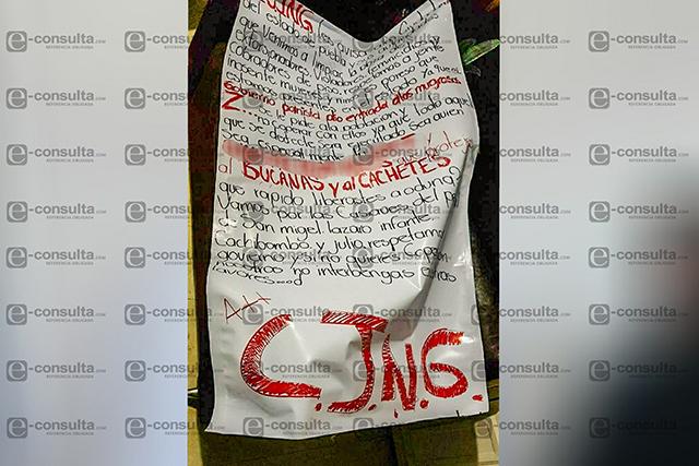 Narcomanta en Periférico amenaza a El Bukanas y a El Cachetes