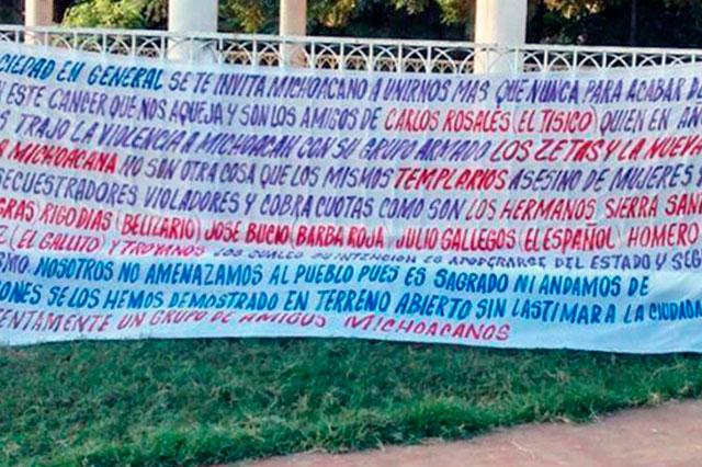 Con narcomantas le declaran la guerra a Los Viagras en Michoacán