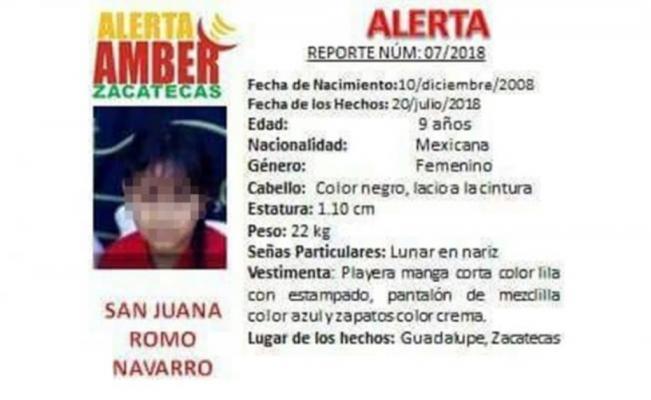 Capturan en Zacatecas al presunto asesino de la niña San Juana
