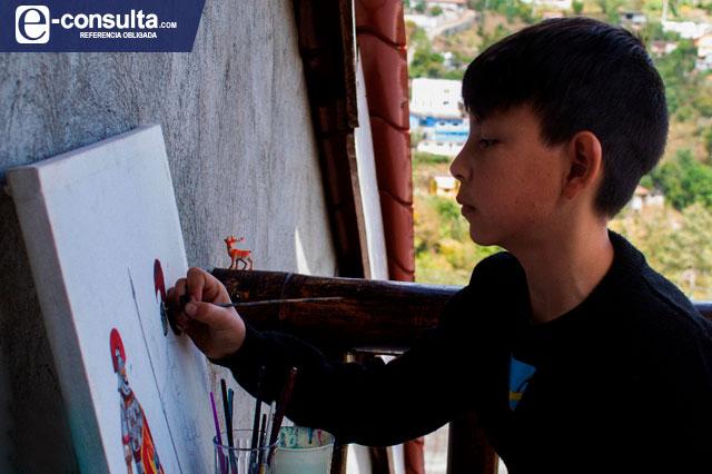 Diego Montalvo el niño que enorgullece a Zoquitlán con su arte