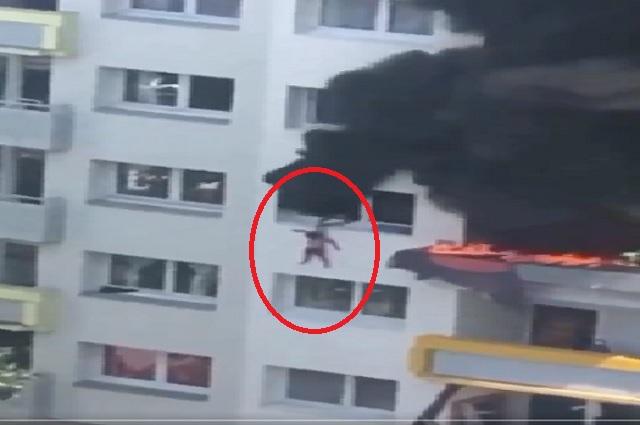 Tras incendio, niños se avientan desde 12 metros de altura para salvarse
