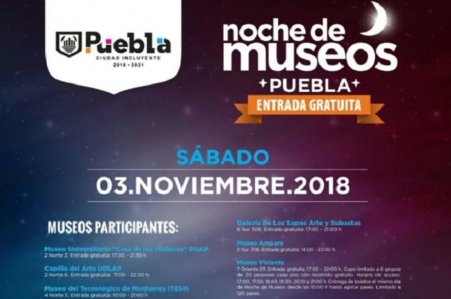 Organizan este 3 de noviembre Noche de Museos en Puebla