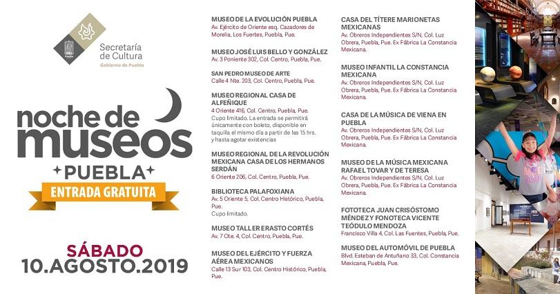 Promueven noche de museos para este sábado en Puebla