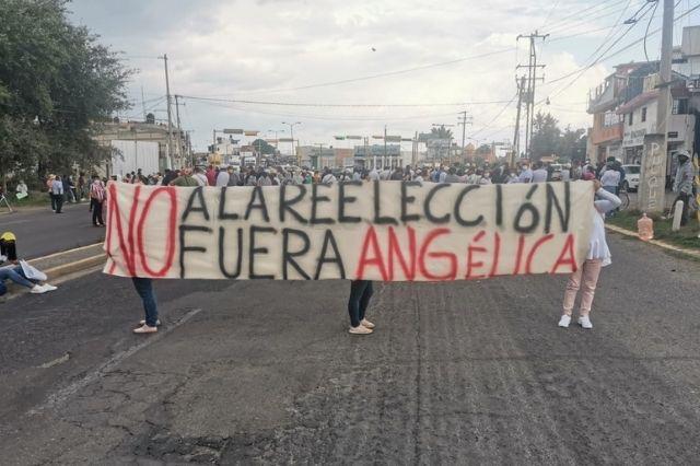Protestan en Huejotzingo contra reelección de Angélica Alvarado