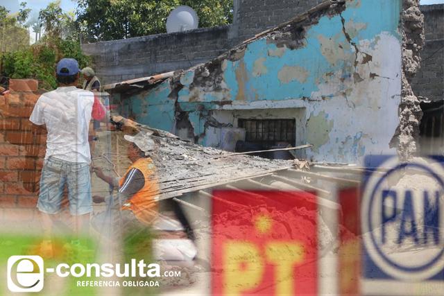 Alcanza dinero de partidos para reconstruir 2 mil casas en Puebla