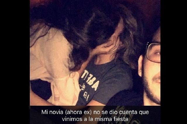 Novia exhibida en selfie besando a otro chico habla de qué paso esa noche