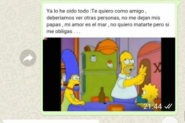 VIRAL Chica rompe con su novio en WhatsApp con memes de Los Simpson
