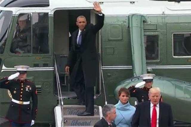 Barack Obama utiliza por última vez el helicóptero presidencial
