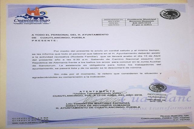 Obligan a burócratas de Cuautlancingo a apoyar a Riestra