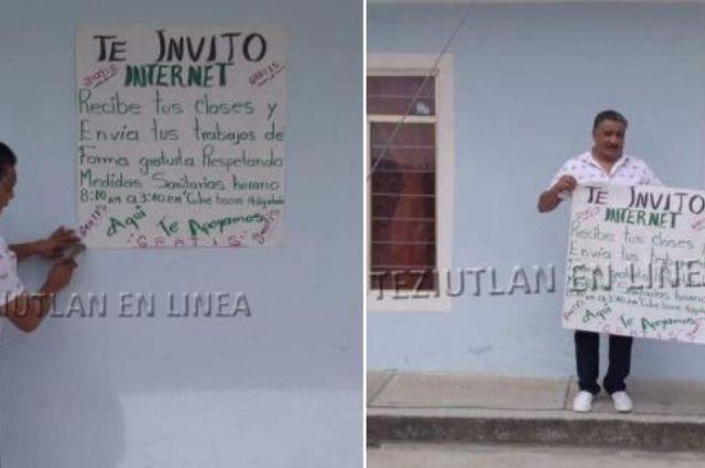 Ofrece internet gratis para apoyar a estudiantes en El Seco