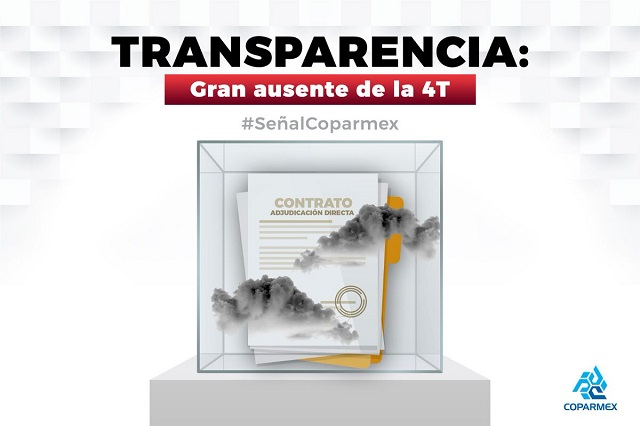 Coparmex acusa de opacidad al gobierno de AMLO