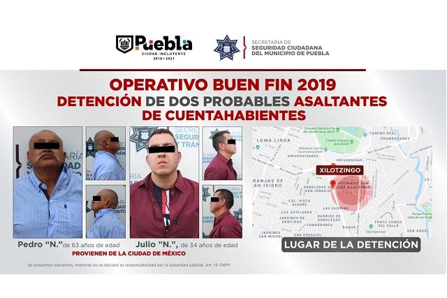 Detuvo SSC de Puebla a dos asaltantes de cuentahabientes