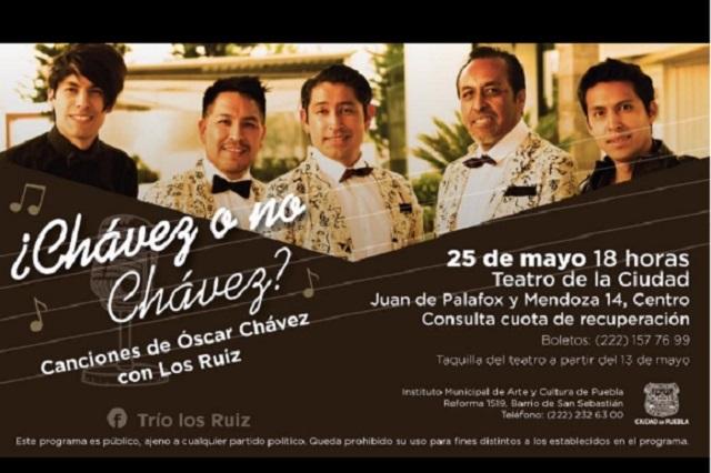 Trio Los Ruiz se presenta con temas de Óscar Chávez en Puebla
