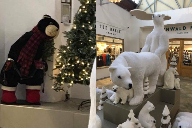 Centro comercial puso en su decoración navideña a unos osos teniendo sexo