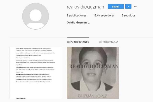 Desde cuenta en Instagram, Ovidio Guzmán se disculpa por balaceras