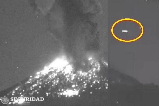 VIDEO: Captan supuesto OVNI tras explosión del Popocatépetl