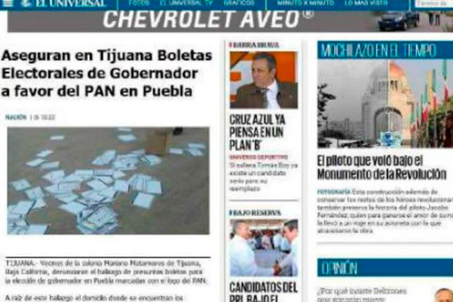Clonan página de El Universal y publican nota de boletas de Puebla