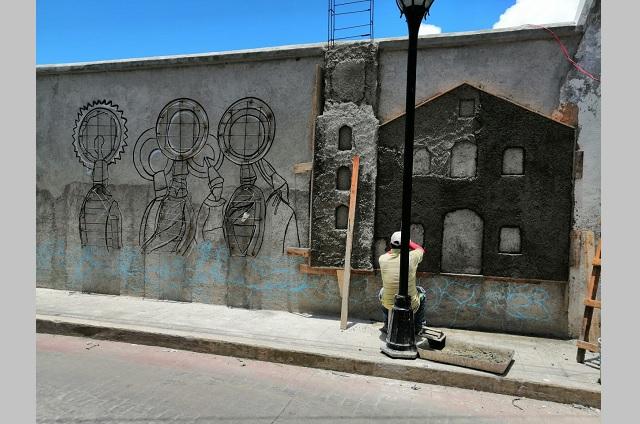 Preparan mural para barda del panteón municipal en Huauchinango