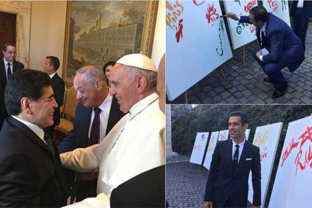 El Papa saluda a Maradona, a Rafael Márquez y a Cuauhtémoc Blanco