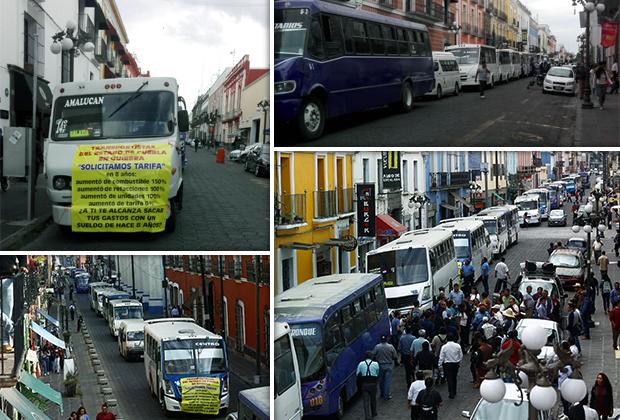 Transportistas paralizan Puebla en demanda de alza al pasaje