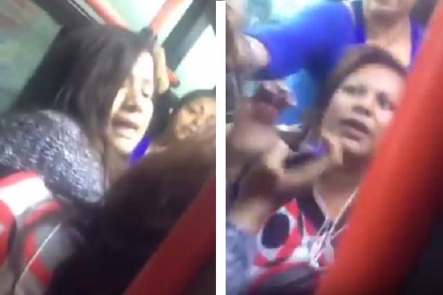 VIDEO Mujeres se golpean y jalan del cabello por un asiento en transporte público