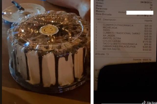 Video: Mesero ofrece guardarles su pastel y les cobran 100 pesos extra