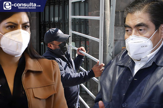Por cerco a marchas del 8M chocan Barbosa y Claudia Rivera