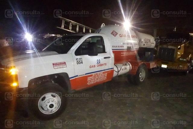Frustran robo de pipas en Gas de Oriente de Ocoyucan