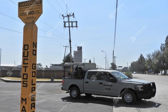 Por tierra y aire vigila la Marina ductos de Pemex en Puebla capital