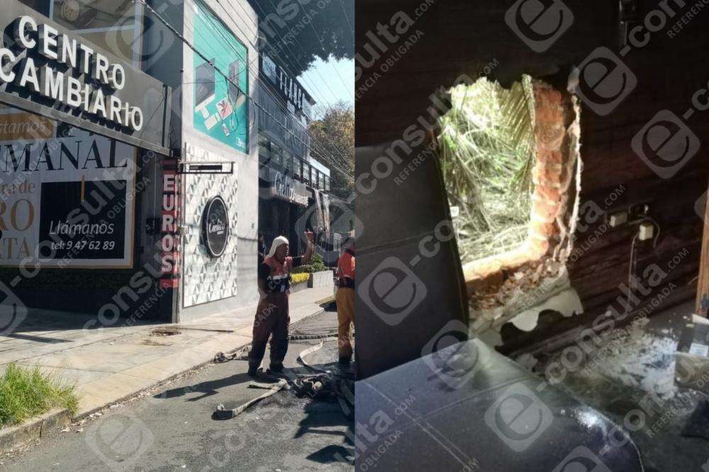 Roban más de 400 mp y queman casa de cambio en Huexotitla