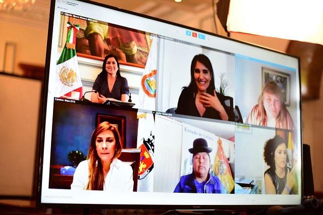 Participa Claudia Rivera en videoconferencia de ONU Mujeres