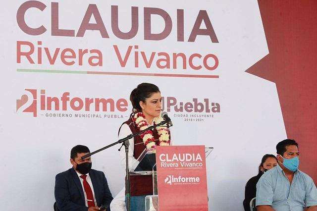 Inicia Claudia Rivera gira en juntas auxiliares por Segundo Informe