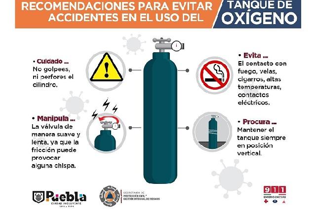 Orientan en Puebla capital sobre buen uso de tanques de oxígeno