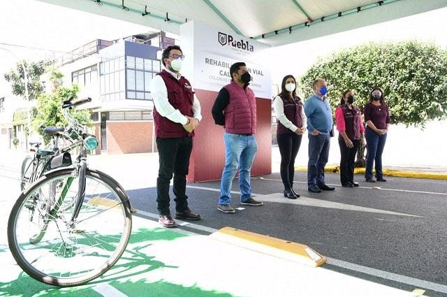 Ayuntamiento de Puebla rehabilita calle 4 Sur y ciclovía