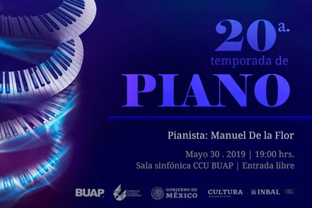 Pianista Manuel de la Flor se presenta en el CCU de la BUAP