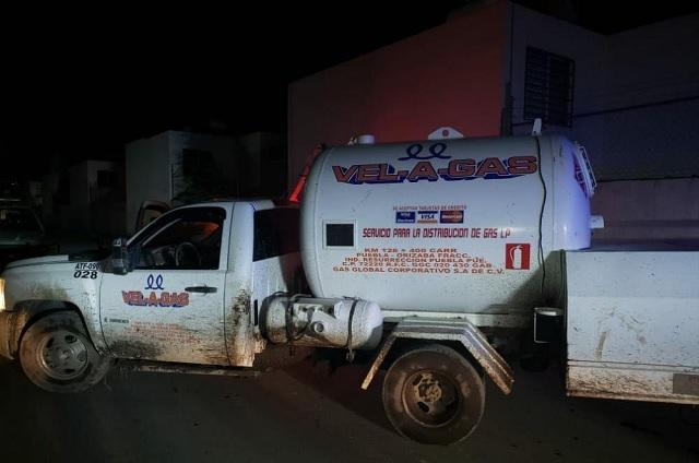 Asegura policía de Coronango pipa de gas