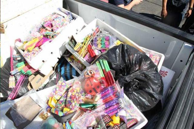 Van mil 200 kilogramos de pirotecnia decomisados en Puebla