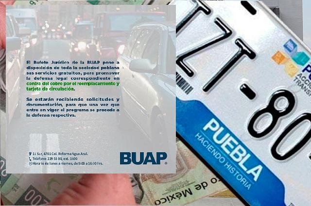Asesora gratis la BUAP contra el reemplacamiento de Barbosa