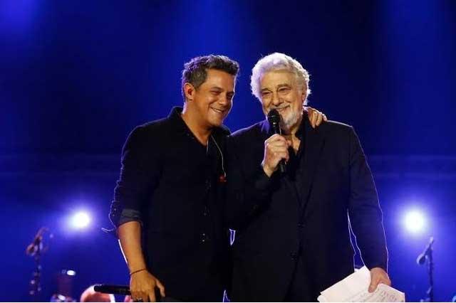 Alejandro Fernández y Fher de Maná en homenaje junto a Placido Domingo