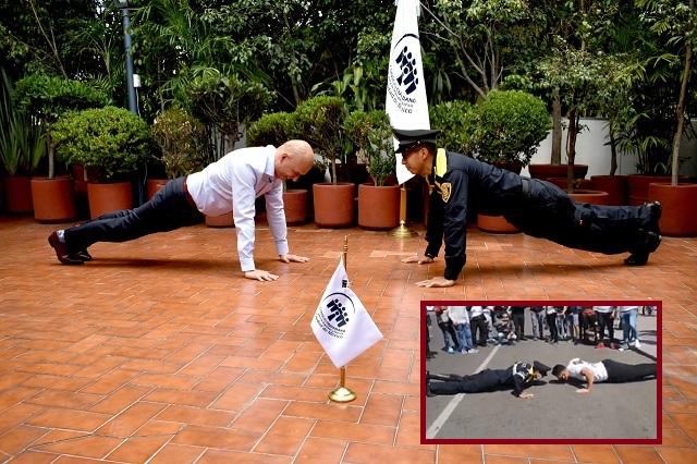 Nombran embajador deportivo a policía que venció en lagartijas a culturista