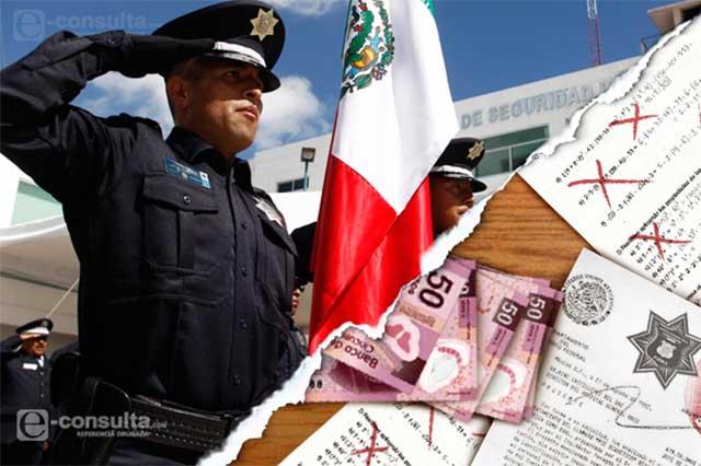 Policías poblanos, con baja paga y sin prestaciones por muerte